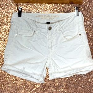 American Eagle white rolled cuff shorts